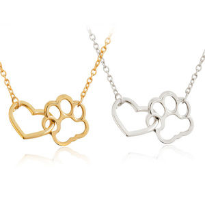 Jewelry - New Puppy Love Paw Print Heart Necklace Dog Mom